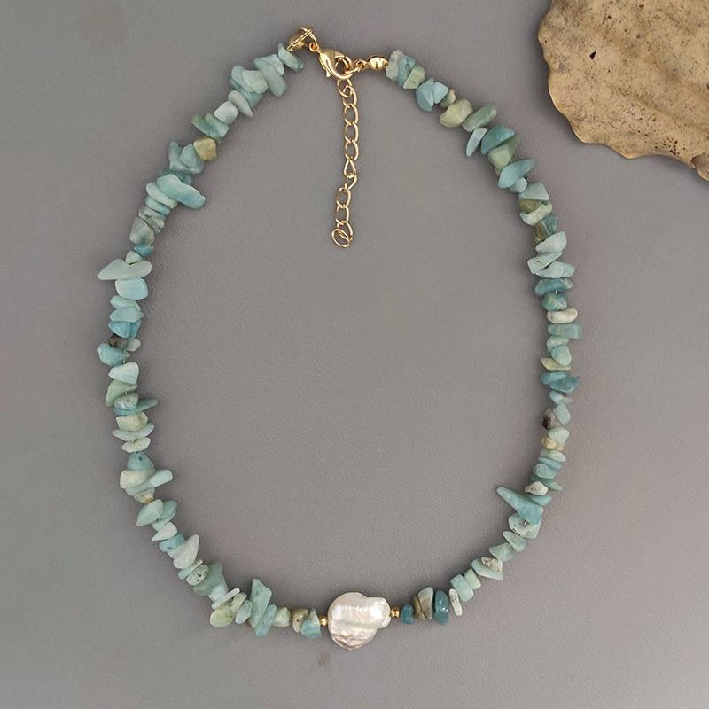natural stone short necklace exquisite fashion irregular design women charm accessories boho freshwater pearl choker 2020