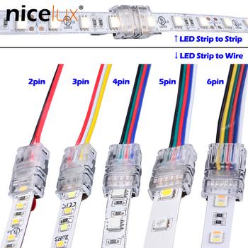 5 sztuk 2pin 3pin 4pin 5pin 6pin złącze taśmy LED dla RGB RGBW RGBWW 3528 5050 taśmy LED przewód światła zacisk przyłączeniowy Splice tanie i dobre opinie nicelux CN (pochodzenie) DC3~24V CE RoHS PC+Copper Black Transparent