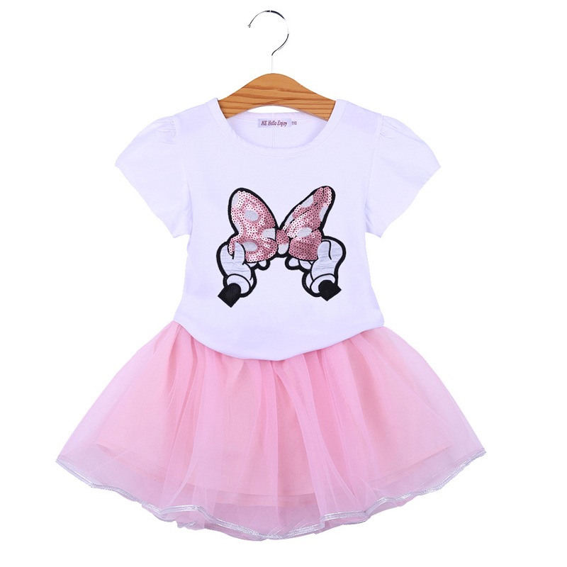 2020 verão crianças roupas dos desenhos animados minnie algodão camiseta + saias 2 peças meninas conjuntos de roupas crianças verão terno para 2-6 anos