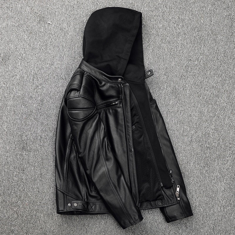 Free Shipping,Plus Size Mens Genuine Leather Biker Jacket.Pro Motorcycle Jacket Protectors.cowhide Coat.quality Outwear Pads