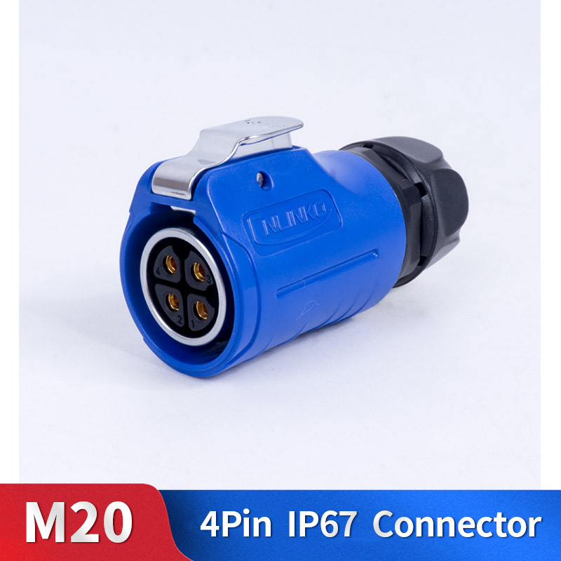 M20 4 Pin Waterproof Connector Kit Metal Shell Male and Female Industrial Outdoor Lighting Cable Plug and Socket|Connectors| |  - title=