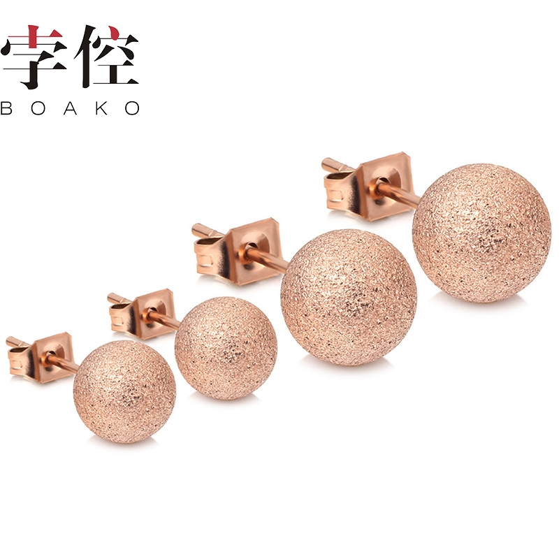 BOAKO 2020 Rose Gold Color Double Frosted Round Ball Shape Classic Stud Earrings For Women Fashion Jewelry drop shipping(China)