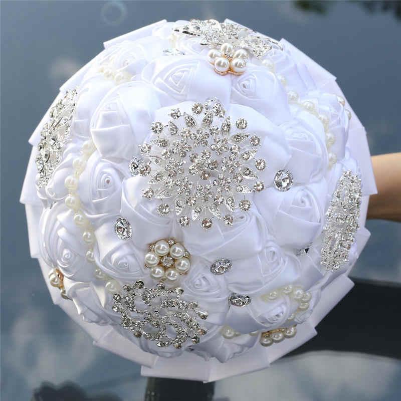 Rose Crystal Pernikahan Beaded Bros Pernikahan Aksesoris Bridesmaid Buatan Bunga Pernikahan Bridal Karangan Bunga