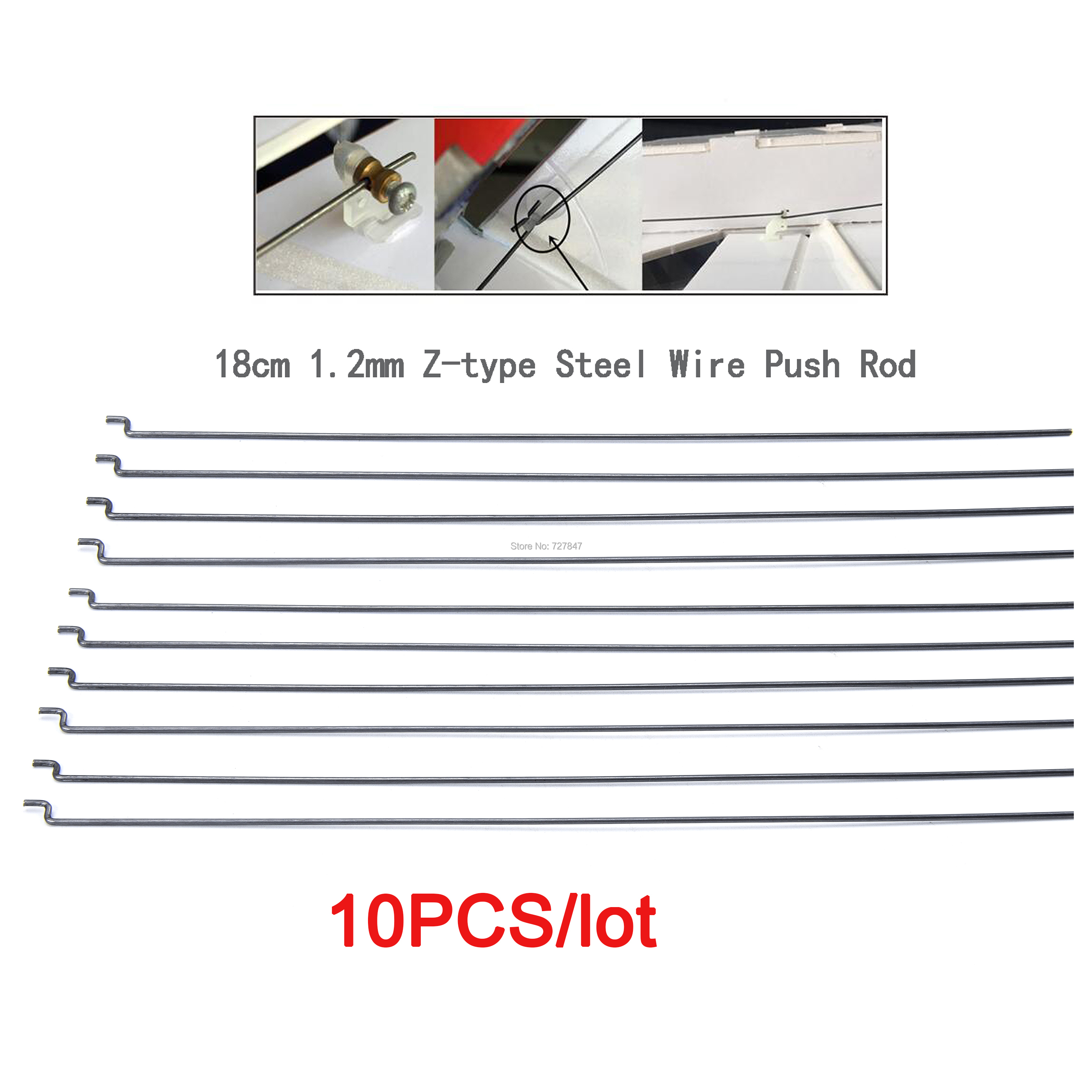 10pcs/lot 20.3cm 1.2mm Z-type Steel Wire Push Rod For SU27 KT Board RC Airplane