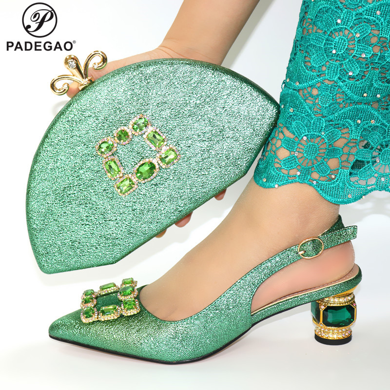 Latest 2020 Italian Design Italian Shoes and Bag Set Pointed Toe Italian Royal Paty Matching Shoes and Bag in Green