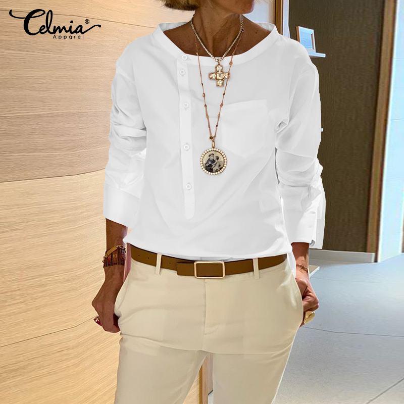 Women Vintage White Blouse Celmia 2020 Fashion Shirts Long Sleeve Buttons Solid Casual Loose Tops Blusas Femininas Plus Size 5XL