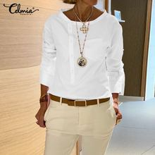 נשים בציר לבן חולצה Celmia 2020 אופנה חולצות ארוך שרוול כפתורי מוצק מקרית Loose חולצות Blusas Femininas בתוספת גודל 5XLחולצות נשים וחולצות