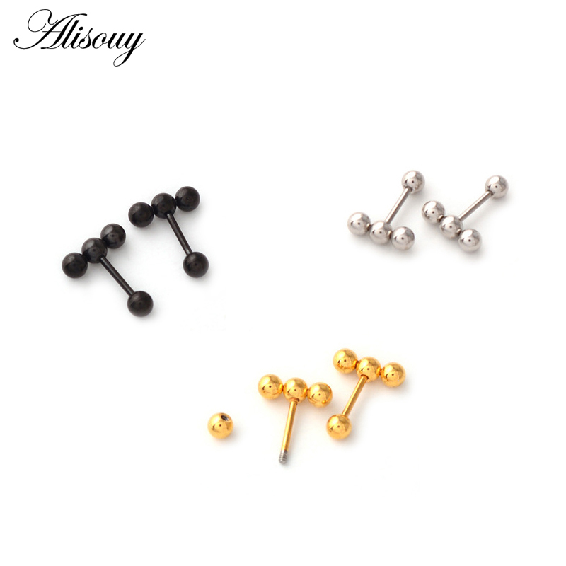 Alisouy 2pc Fashion Simple Multi Small Balls T bar Stud Earrings for Women Punk Stainless Steel Black/Gold/Silver color Ear Stud