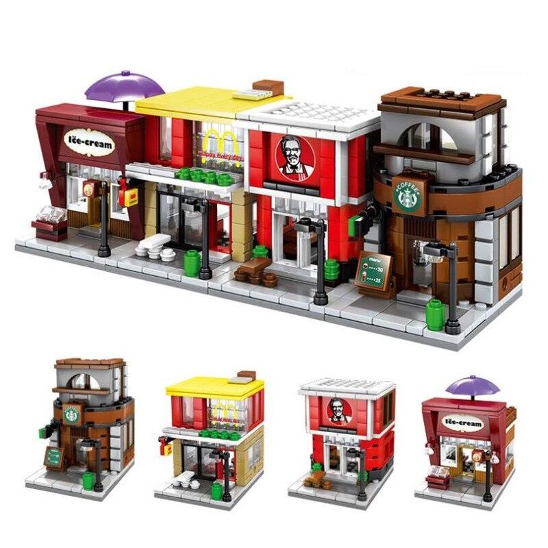 Single Mini Legoings City Mini Street Series 3D Model Book Store Ice Cream Shop Educational Building Block Toys For Kids Gifts