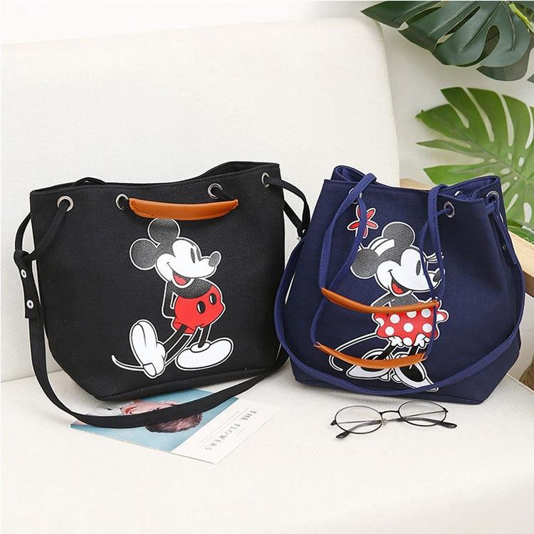 Disney Female Shoulder Bag Fashion Bag Mickey Mouse Lady Handbag Large Capacity Minnie Casual Shoulder Bag Shopping