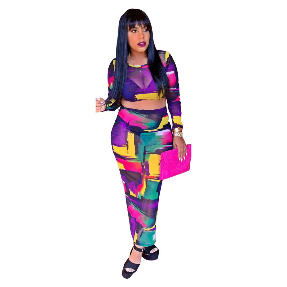 Graffiti Painted Sheer Mesh Skirt Set Women O Neck Long Sleeve Hoodie Crop Top With Long Skirts See Through Bodcon Two Piece Set