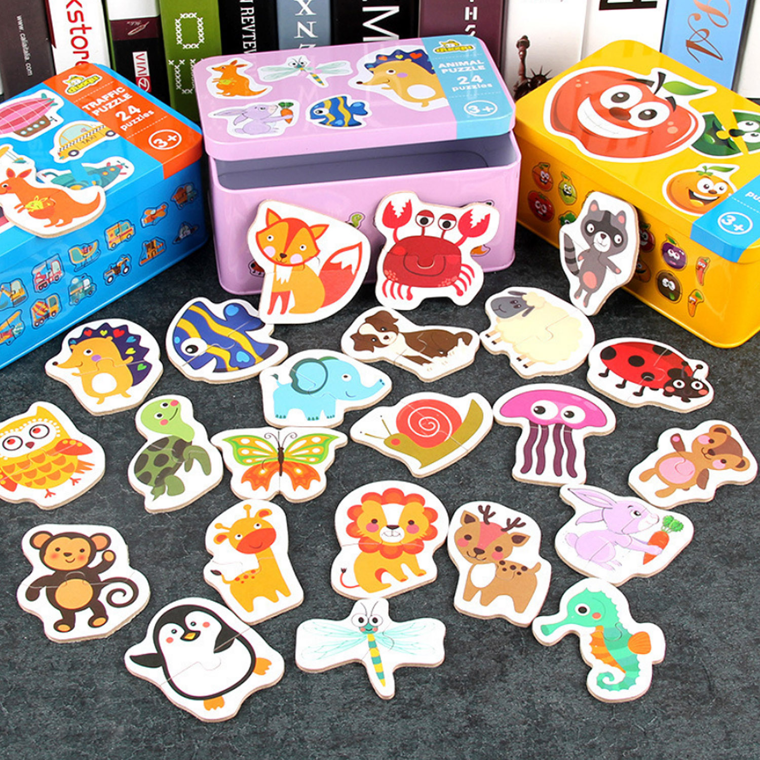 Kids Early Educational Toys Wooden Puzzle Game Animal Pattern Shape Pattern Matching Learning Cognition Card With Storage Box