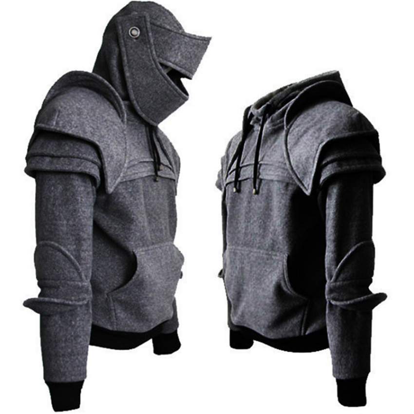 2019 Medieval Cosplay Costumes For Mens Warrior Armor Knight Mask Elbow Sweatshirt Halloween Middle Ages Retro Clothing