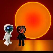 USB 360 ° coucher Projecteur Lampe Robot Projecteur Led Veilleuses Arc-En-Ciel Coucher de Soleil Rouge Selfie Lumière Chambre Atmosphère Lampe de Table