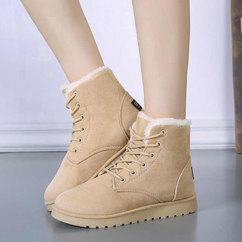 Giày Bốt nữ Mùa Đông Giả Da Lộn Sang Trọng Lông Giày Đen Xám Đỏ Giày Người Phụ Nữ Giữ Ấm Nền Tảng Ủng Thời Trang Mắt Cá Chân giày 2019