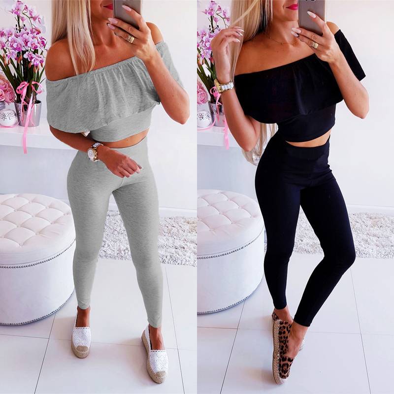 <font><b>2</b></font> <font><b>Piece</b></font> <font><b>Outfits</b></font> <font><b>for</b></font> <font><b>Women</b></font> <font><b>Sexy</b></font> Off Shoulder Short Sleeve Strapless Short Top+Elastic Waist Pencil <font><b>Pants</b></font> Solid Color Female Sets image