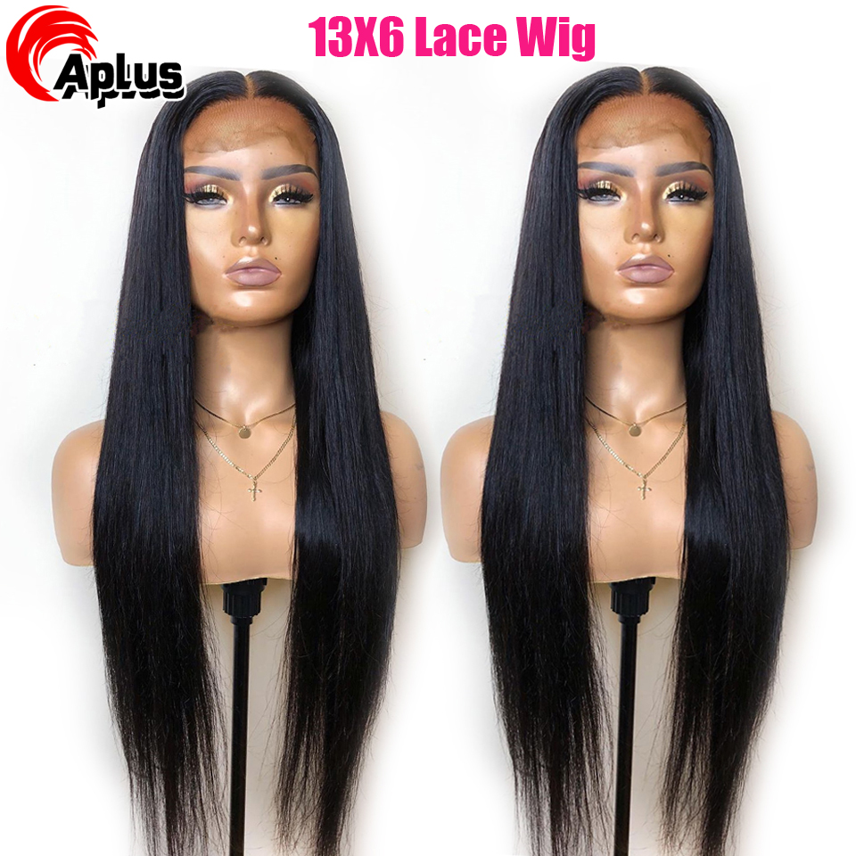 13X6 Straight Lace Front Human Hair Wigs PrePlucked With Baby Hair Glueless Brazilian Remy Straight Lace Wigs Bleached Knots