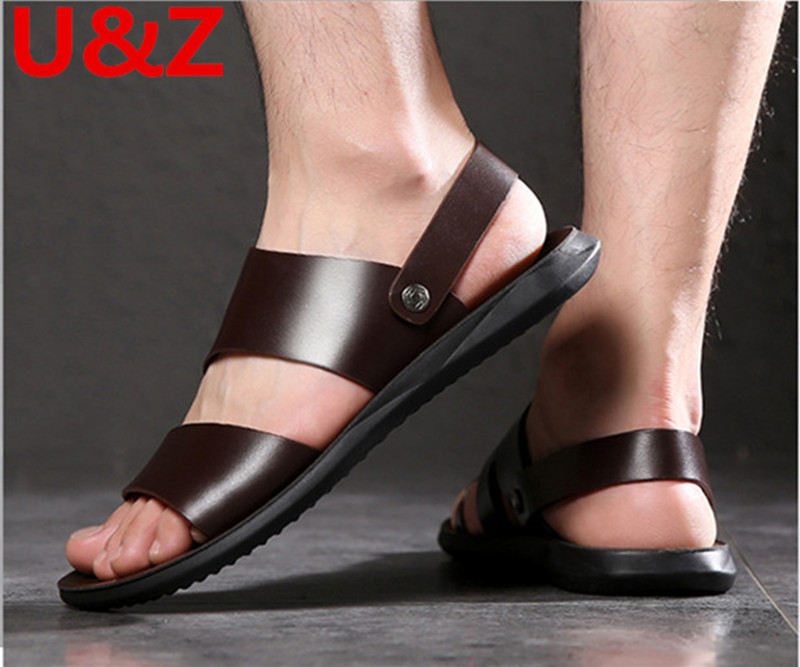 Summer Sandals Men Superior Calf Leather,Cool Yet Functional Classic Sports Slippers Men Beach Shoes Male Casual Shoes Sandals