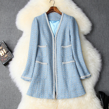 European and American women's clothing 2019 winter new style  Long-sleeved v-neck  Beaded tweed fashion coat
