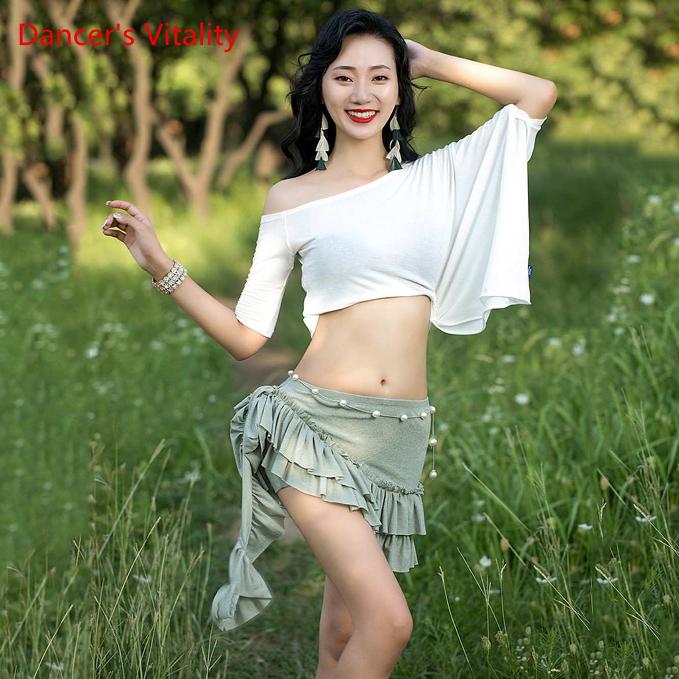 New Knit Sexy Top Belly Dance Lace Hip Scarf Short Skirt Belly Dance Practice Clothes Free Delivery