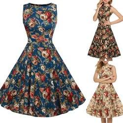 Женское вечернее платье миди без рукавов с цветочным принтом