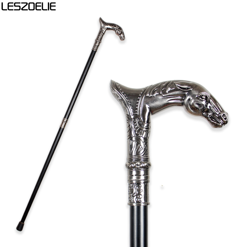 Horse Head Luxury Fashion Walking Stick Man Decorative Walking Cane Women Vintage Metal Canes Men Decoration Walking Stick