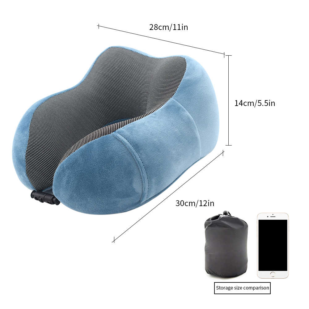 Urijk U 字型旅行枕メモリ泡の首枕トラベルアクセサリーベッドライニング快適な枕スリープホームテキスタイル