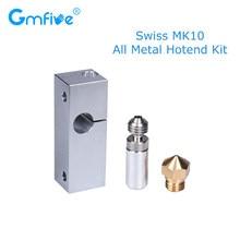 GmFive Swiss MK10 All Metal Hotend Kit Heat Break Throat 1.75 Filament Brass Nozzle Cooling Block Heat Block 3D Printer Parts