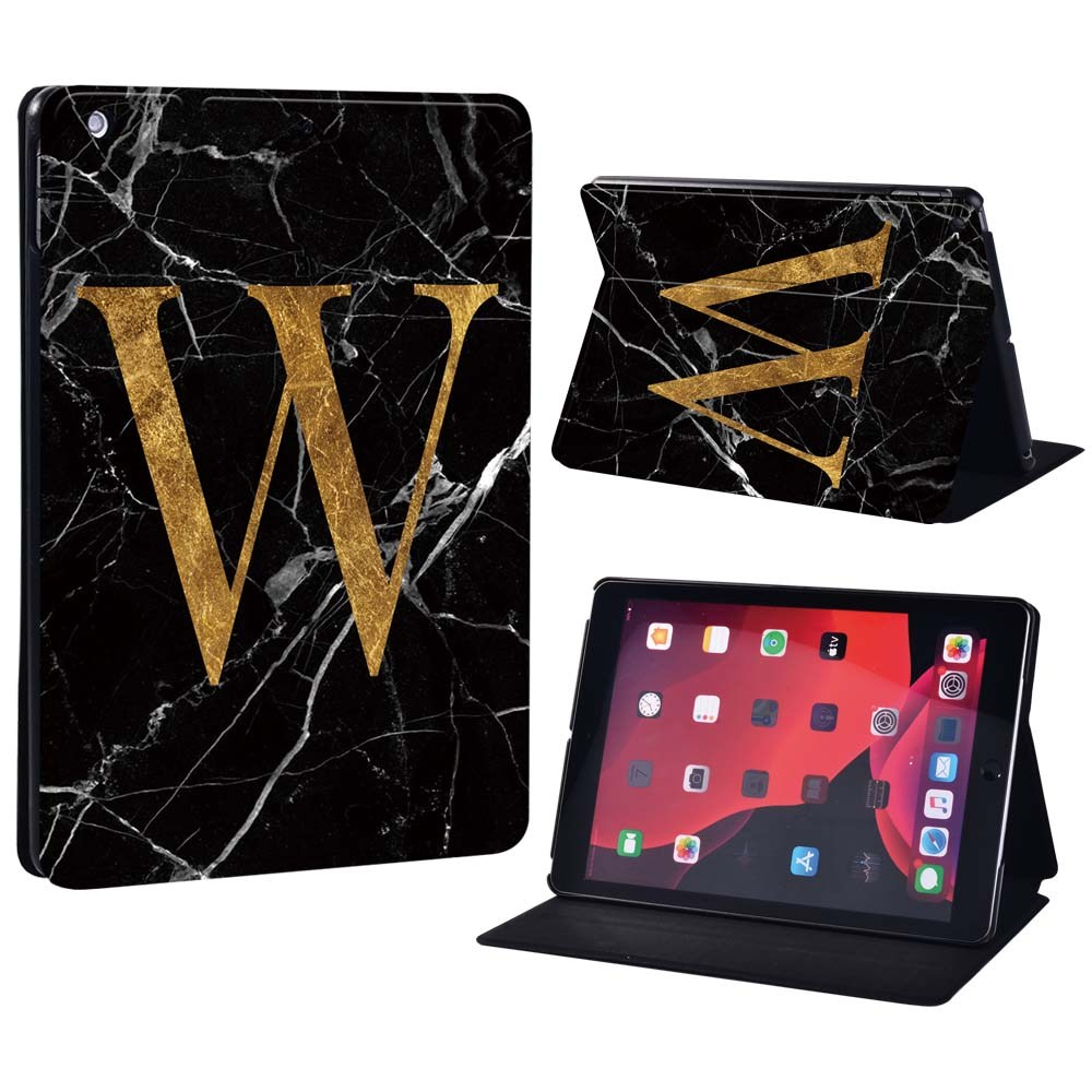 letter W on black Navy For Apple iPad 8 10 2 2020 8th 8 Generation A2428 A2429 Printing initia letters PU