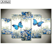 Full square 5d diy diamond painting blue butterfly sticker mosaic crafts embroidery home decoration
