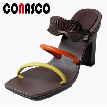 CONASCO Genuine Leather Women Sandals Fashion Concise Pleated Narrow Band Summer New 2020 Slippers Casual High Heels Shoes Woman
