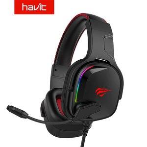 Наушники Havit 7,1 с разъемом USB, наушники с объемным микрофоном, RGB Освещение, игровая гарнитура H2022U
