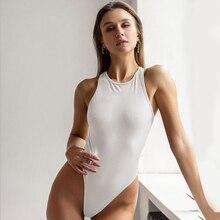 Waatfaak Solid Casual Sleeveless Bodysuit Women Backless Cross Body Mujer Sexy Summer Bodycon Off Shoulder Black White 2020 Body