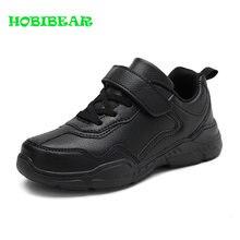 Chaussures de course confortables à semelle caoutchouc pour garçons, baskets d'école noires en cuir, chaussures de Sport pour enfants