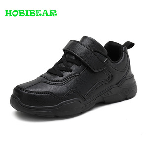Image 1 - Kids Running Shoes Boys Rubber Sole Boys Walking Shoe Children Comfortable School Boy Sneakers Black Leather Sport Kid Shoes