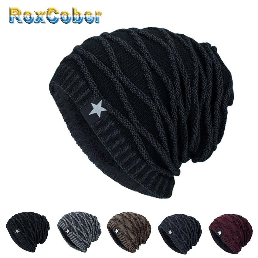 RoxCober Mens Skullies Winter Warm Hat Beanies Knitted Cotto Hip Hop Stocking Hat Plus Velvet Rasta Cap Star Bonnet Hats For Men