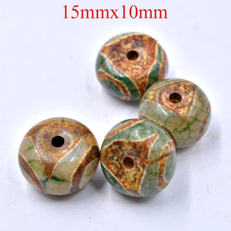 FLTMRH 14mm * 10mm תפילת Mala טיבטי המיסטי Dzi 3 ירוק עיני חרוזים 1 יח'\חבילה DIY שרשרת מתנה