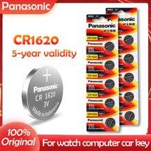 10 pçs 100% original panasonic cr1620 cr 1620 3v bateria de lítio para relógio calculadora relógio de controle remoto brinquedos botão moeda célula