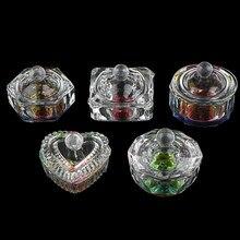 Liquide en acrylique cristal clair, vaisselle, tasse en verre avec capuchon pour poudre acrylique monomère Nail Art Kit d'outils arc-en-ciel 1 pièce
