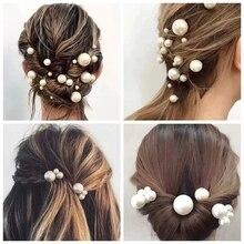 18 pics/lot Women Sparkling Pearls Hairpins Handmade Silver Hair Sticks European Hairbands Wedding Accessories