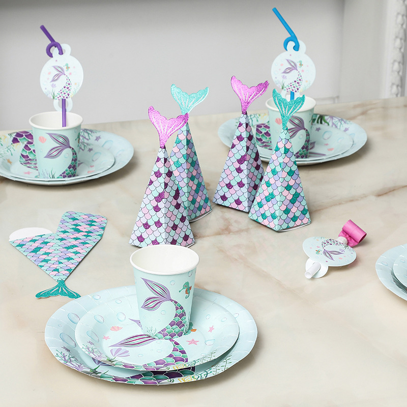 10Pcs Mermaid Birthday Party Candy Box Baby Shower Mermaid Paper Bag Mermaid Christmas Party Paper Bags For Gifts Supplies,Q