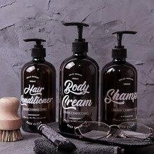 500ml Boston Brown szklana butelka do przechowywania Nordic Bath mycie rąk krem do ciała butelki szampon odżywka do włosów sub butelka