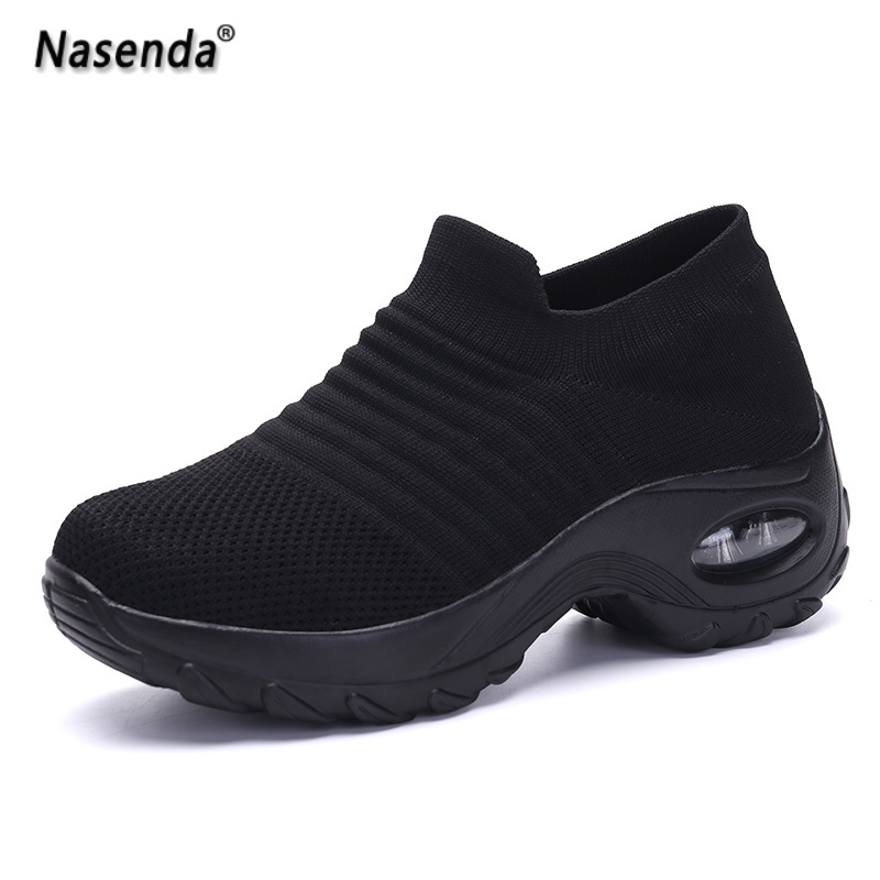 Summer Casual Women Shoes Slip On Platform Sneakers For Woman Fashion Black Mesh Female Sock Shoes Wide Loafers Walking Shoes 42