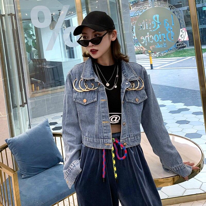 7Mang 2019 otoño mujer Streetwear Punk Jeans chaquetas novedad Strange Metal Ring fiesta suelta chaquetas de mezclilla 0816