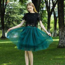 Jupe Midi en Tulle à 7 couches pour femme, taille haute, balançoire, robe de bal, maille, Tutu, été 2020