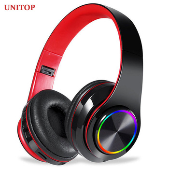 UNITOP LED Colorful Breathing Lights Headset Portable Built-in FM Wireless Bluetooth Headphones With MIC Support TF Card Mp3 support sdcard fm bluetooth three in one headset universal wireless portable folding headset for mobile phone