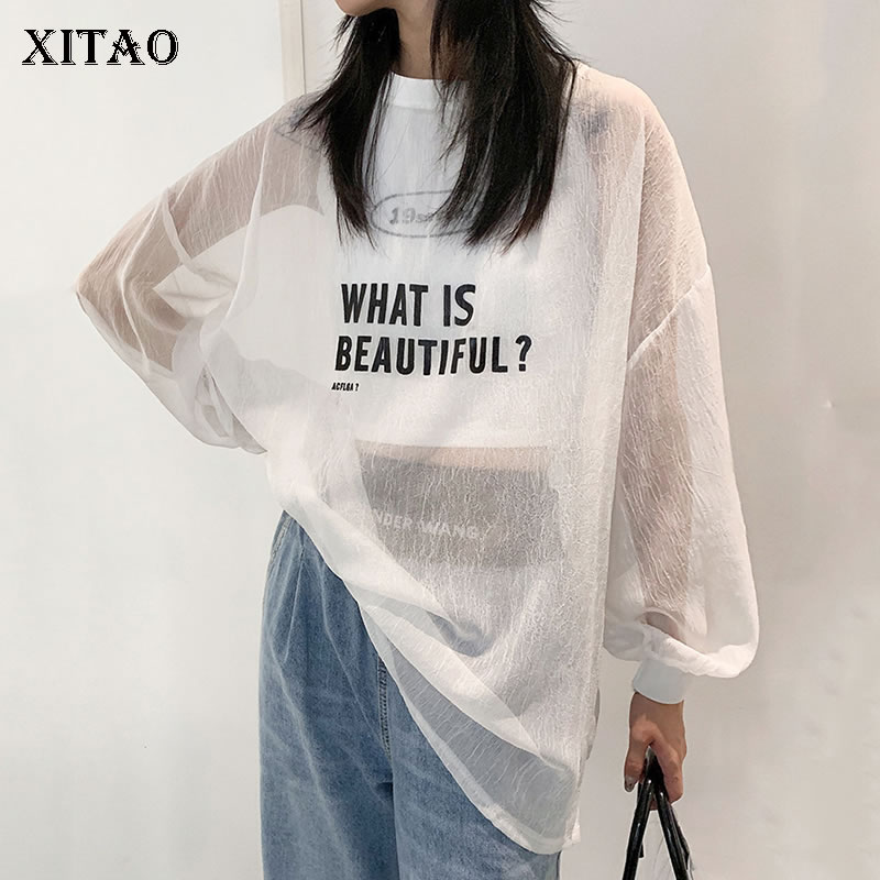 XITAO Chiffon Women T Shirt Fashion New Women 2020 Spring Letter Pullover Pleated Pullover Goddess Fan Casual Tee DMY3301
