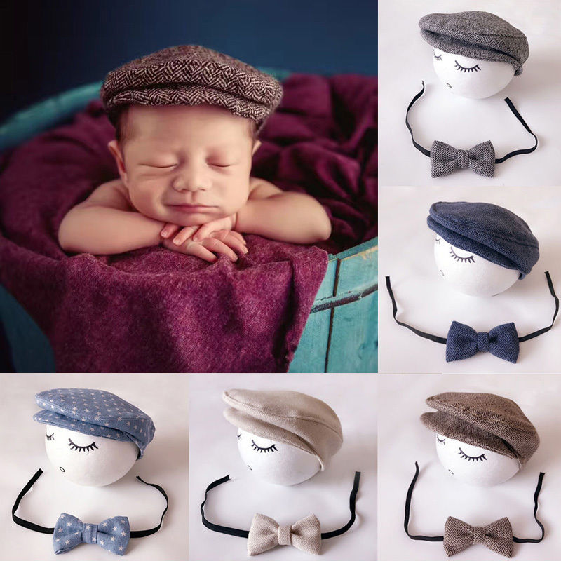 Baby Photography Accessories Baby DIY Props Creation Gentlemen Camera 6 Colors Infant Peaked Beanie Cap+ Bow Tie Photo Prop