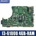 Akemy X456UAM материнская плата для ноутбука ASUS VivoBook X456UA X456UV X456UQk X456UAM X456UAK материнская плата 4GB-RAM I3-6100U DDR4