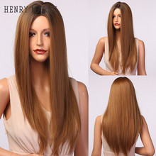 Wigs Long Honey-Blond Synthetic-Hair Henry Margu Heat-Resistant Brown Straight Ombre
